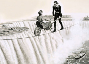 Dare-devil on a Rope. Blondin (Francois Gravelet) pushes a wheelbarrow across a tightrope over Niagra Falls. Original artwork from Look and Learn Book 1982.